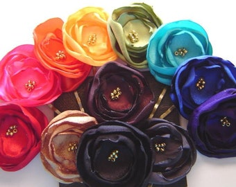 CAROLYN Bobbies Any Colors You Choose 3 Petite  Poppy Pins Bobby Pin Set Fabric Flower