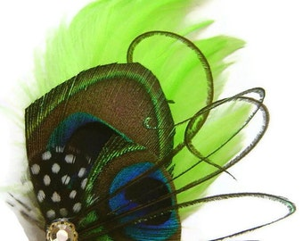 Peacock Feather Hair Clip PINCH of LIME Rhinestone Wedding Hair Fascinator Clip Bridal Party