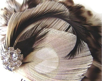 CERISE Chinchilla Bridal Peacock Feather Hair Fascinator Clip Wedding Party Bridesmaid