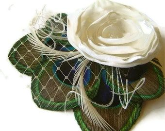 Ivory White Rose Peacock Hair Clip Sweet Bridal MADAME IVOIRE with French Netting Veil