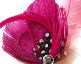 COTTON CANDY Pink Peacock and Rhinestone Wedding Hair Fascinator Clip