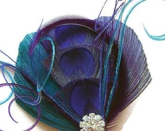 Peacock Hair Clip COOL BLUE Peacock and Rhinestone Wedding Hair Fascinator Clip