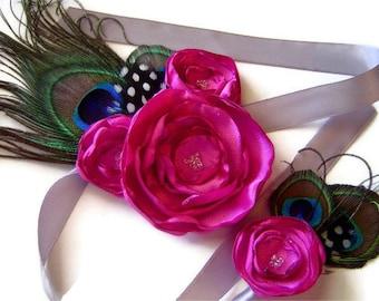 Peacock Corsage & Boutonniere Bridal Party Set FUCHSIA  PINK Satin Flower Set