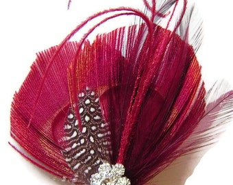Peacock Hair Clip VALENTINE KISS Peacock and Rhinestone Wedding Hair Fascinator Clip