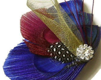 Peacock Hair Fascinator RED & BLUE Perfect for a Fall or Winter Bride or Bridesmaids with Rhinestone and Gold Skeleton Leaf