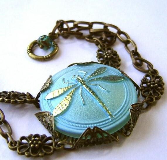 Steam Punk Art Deco Dragonfly in Chains Bohemian