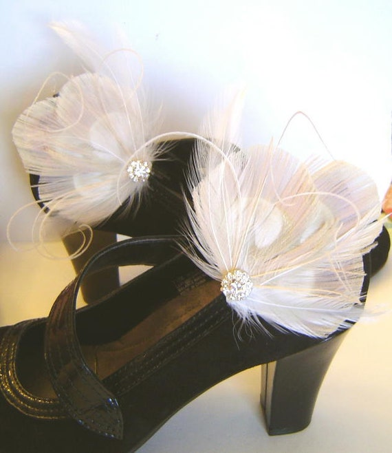 Bridal Ivory Peacock Feather  Shoe Clips with Rhinestones  Wedding Party Bridesmaid