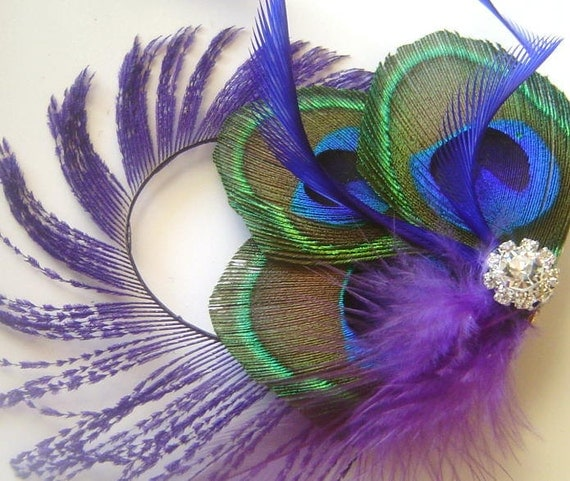Peacock Feather Clip w/Peacock Sword Purple and Perwinkle
