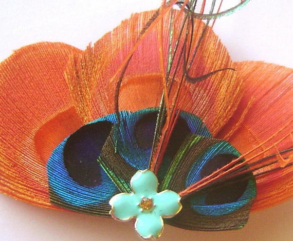 TANGERINE and TEAL Peacock Feather Hair Fascinator Clip with Enameled Teal Rhinestone Flower