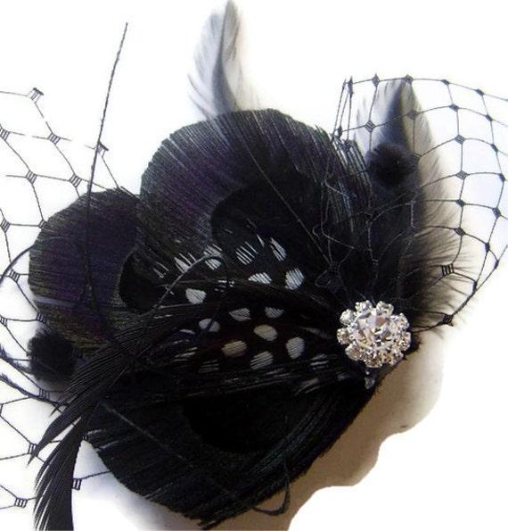 Black Peacock Feather Clip w/ Black Netting Rhinestone NOIR Elegant Bridal Wedding Fascinator Clip