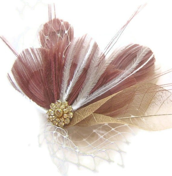 DUSTY ROSE Peacock Feather Bridal Hair Fascinator Clip with Veil and  Vintage Jewel OOAK