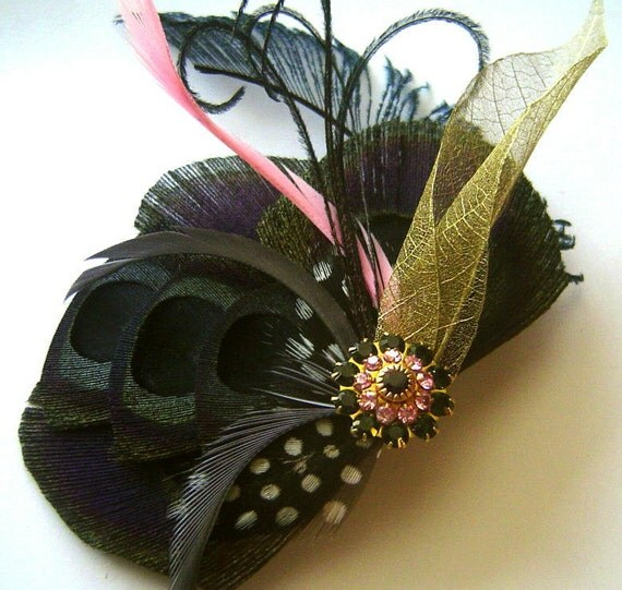 SALE Black and Pink Ballerina Peacock Feather Bridal Hair Fascinator Clip BLACK Swan with Vintage Jewel OOAK