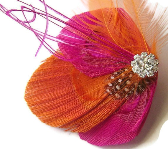 Peacock Hair Clip ORANGE SHERBERT Feather and Rhinestone Wedding Hair Fascinator Clip Bridal party