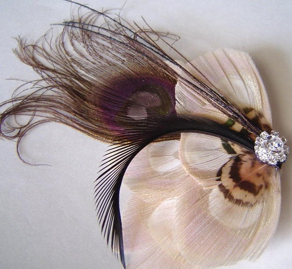 50% OFF Natasha Chocolate and Ivory Peacock Feather Hair Clip  with Pheasant Feathers and Rhinestone Wedding Party Hair Fascinator Clip