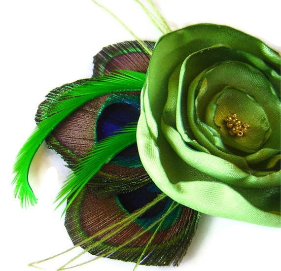 JENNIFER in Lime Green Peacock and Flower Hair Fascinator Clip Wedding Perfect for Bridal Party
