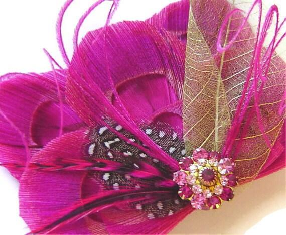 FUCHSIA Peacock Feather Hair Clip GOLDEN Pink Bridal Fascinator Clip Skeleton Leaf with Vintage Jewel OOAK