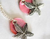 Nautical Starfish Earrings with Pink Mussel Shells