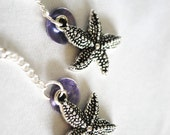 Nautical Starfish Earrings with Purple Mussel Shells