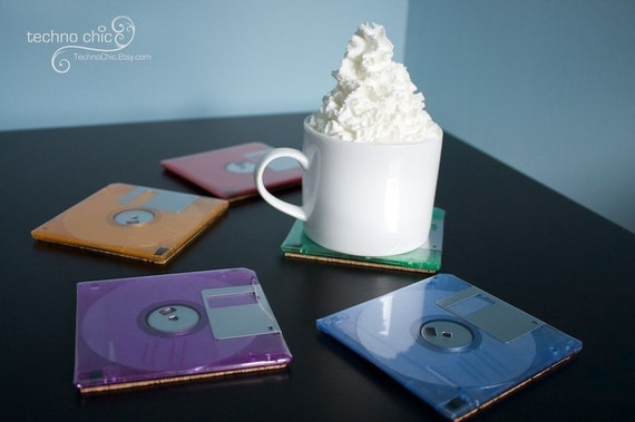 Floppy Disk Coasters - Funky Colors - Perfect Gift for a Geek :o)
