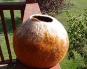 Handmade ooak wet felted wool bowl/vessel.