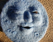 Needle felted man in the blue moon