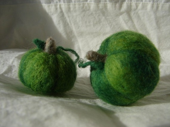 Thanksgiving green needle felted squash decoration.