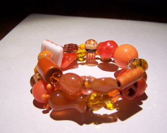 Fantastic orange memory wire wrap bracelet