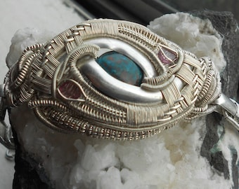 Bracelet - Chrysocolla and Pink Tourmaline with Silver Wire