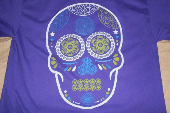 T-Shirt - Day of the Dead Skull (Purple)
