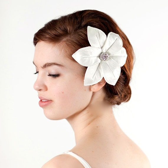 SALE Large Wedding Hair Flower Comb in White Silk Dupioni with Rhinestone Accent - Bridal Hair Accessory - Ready To Ship