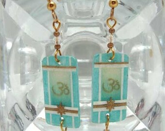 Om Symbol Earrings in Blue