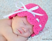 10.00 SALE---NB-3M  Pink Baby Beanie/Hat with a White Ribbon