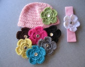 Newborn Pink Hat and Pink Headband Gift Set