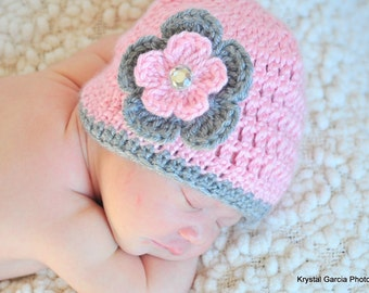 10.00!!--Great Photo Prop--Newborn Baby Hat/Beanie in Pink with Gray and Pink Flower