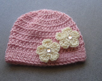 10.00 SALE!!--Newborn Beanie in Pink with Ivory Cherry Blossom Flowers Attached