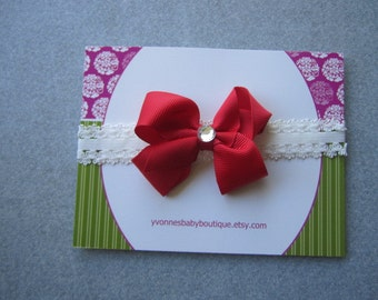 Christmas in July SALE---Newborn Lace Headband--White Skinny Lace Headband With a