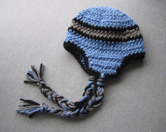 14.00!!--Newborn Baby Boy Blue Earflap Beanie with Side Tassels