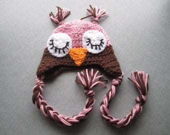 Newborn--3M Sleepy Owl Crochet Hat--Photography Prop
