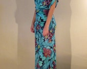 Off the Shoulder Gown Slim in Emerald & Fuschia Floral-Size Large