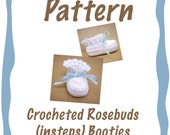 Custom Pattern for Crocheted Rosebuds (on insteps) Booties - Reserved for Susan