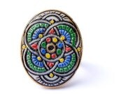 Vintage Abstract Floral Cameo Ring on Stainless Steel