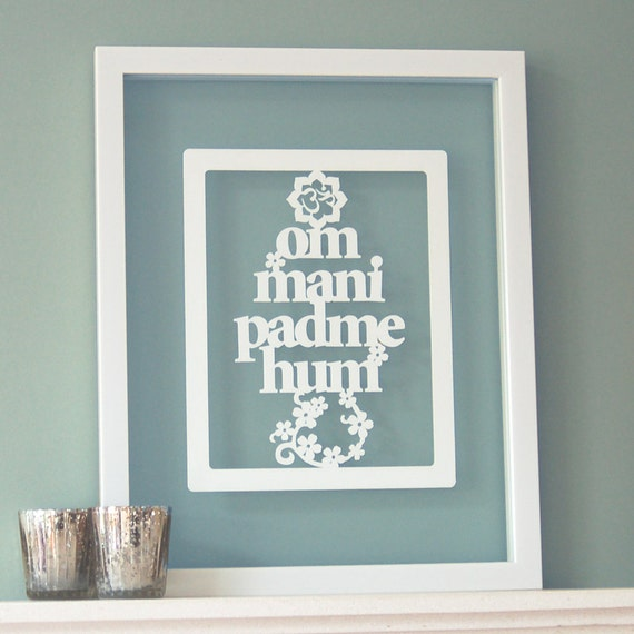 Buddhist prayer 'Om Mani Padme Hum' papercut art, mantra quote, buddhist quote, yoga gift