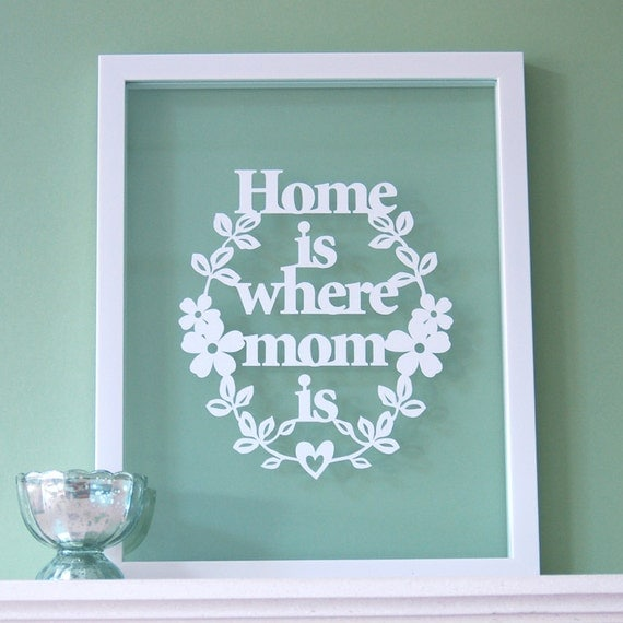 Gift for Mom - Home is Where MOM Is - Papercut, Mothers Day Gift, mom birthday gift, mom quote