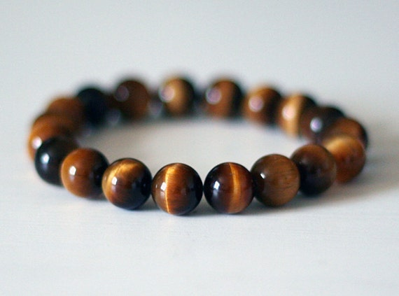 Mens Beaded Bracelet Mens Tigers Eye Bracelet Womens Tigers