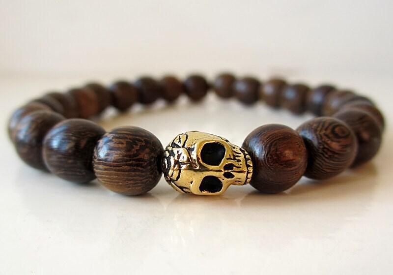 wooden skull bead bracelet 2