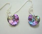 Enchanting LOVE earrings -swarovski and sterling silver- sparkling vitrail light