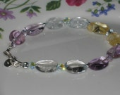 beautiful 925 sterling silver and Mixed Gemstones Bracelet - New Design Promotion