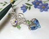 BLUE ROSE BUD 925 sterling silver and crystal pendant -New Desig Promotion, HALF OFF
