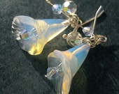 The Mystery of Love earrings  -  dreamlike opal and crystal earrings with sterling silver