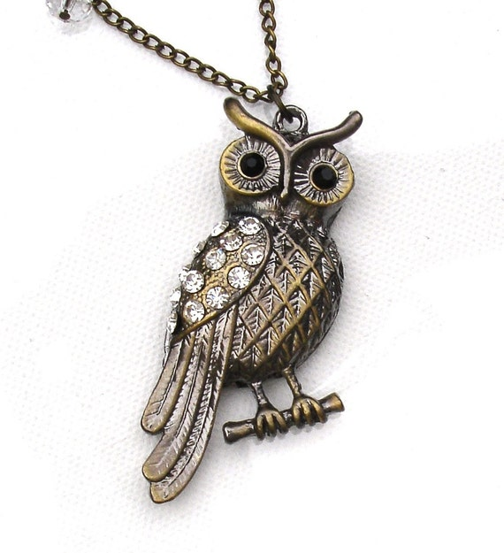 Retro Owl Necklace with Crystals
